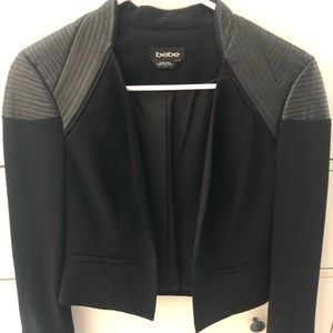 Black Blazer Jacket with Leather Shoulders